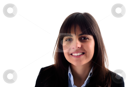 Woman stock photo, Close-up of a beautiful face isolated on white by Rui Vale de Sousa