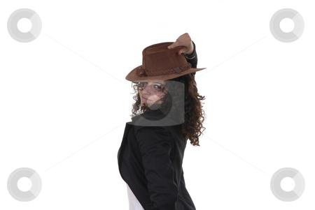 Flirt stock photo, Young woman portrait posing with a hat by Rui Vale de Sousa