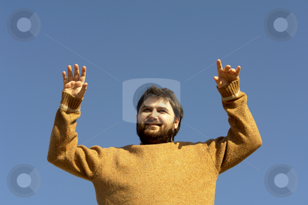 Happy stock photo, Young man enjoying the sun, copy space in the blue sky by Rui Vale de Sousa