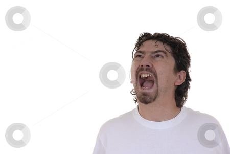 Scream stock photo, Young adult sreaming alone in white background by Rui Vale de Sousa