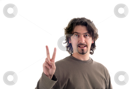 Victory stock photo, Young man with two fingers isolated on white by Rui Vale de Sousa