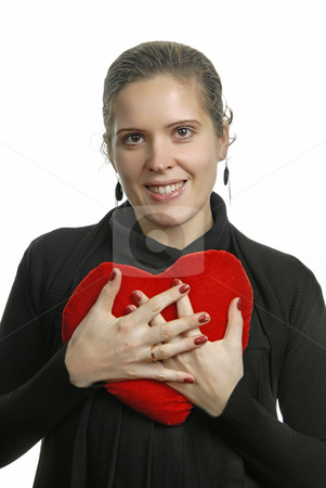 Love stock photo, Pretty young woman holding a Valentines heart by Rui Vale de Sousa