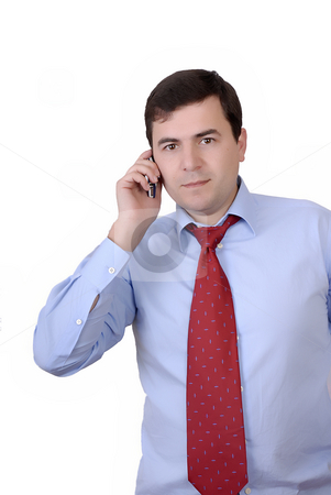 Call stock photo, Young successful business man on the phone isolated on white by Rui Vale de Sousa