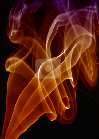 Smoke stock photo, Red rays smoke abstract in black background by Rui Vale de Sousa