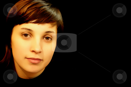Girl stock photo, Young girl portrait in a black background by Rui Vale de Sousa