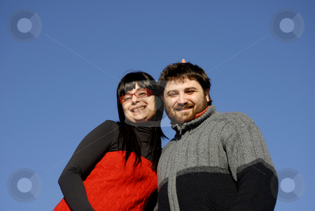 Happy stock photo, Young couple with the sky as background by Rui Vale de Sousa