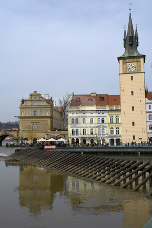 Prague stock photo, Ancient prague buildings near the river vlatva by Rui Vale de Sousa