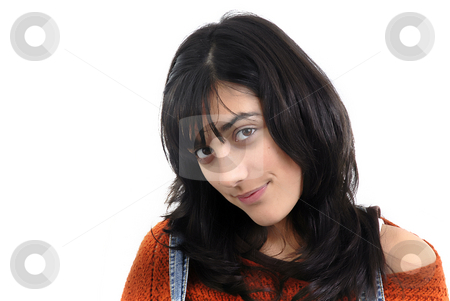 Teen stock photo, Beautiful young woman in a white background by Rui Vale de Sousa