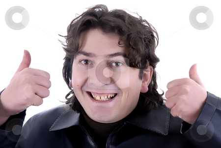 Fun stock photo, Young happy man portrait going thumbs up by Rui Vale de Sousa