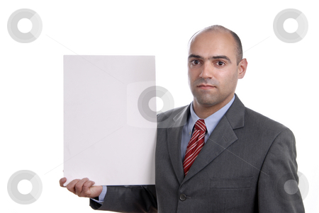 White stock photo, Business man with an empty white card by Rui Vale de Sousa