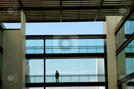 Alone stock photo, Man alone in the modern office building by Rui Vale de Sousa