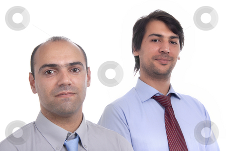 Men stock photo, Two young business men portrait on white. focus on the left man by Rui Vale de Sousa