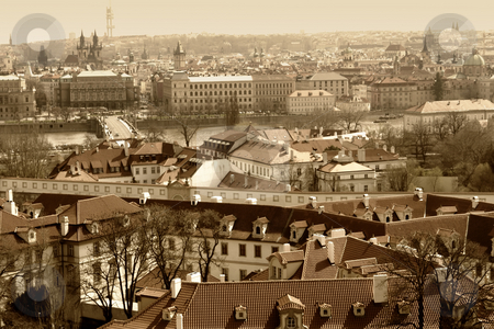 Old prague stock photo, Old picture of prague from the top, digital work by Rui Vale de Sousa