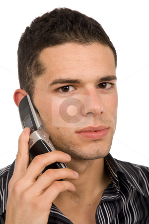 Calling stock photo, Young casual man on the phone, isolated on white by Rui Vale de Sousa