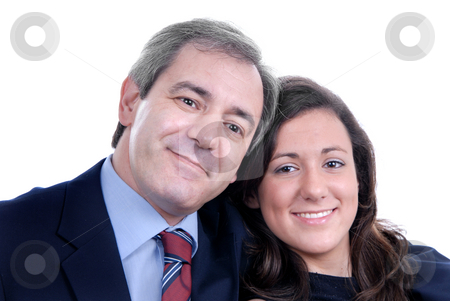 Tenderness stock photo, Business man and woman together in a hug by Rui Vale de Sousa
