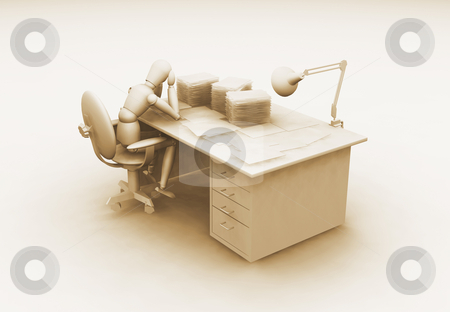 Over worked stock photo, 3D render of an over worked person by Kirsty Pargeter