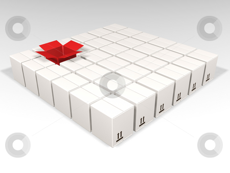 Individuality stock photo, One open red box amongst many white boxes by Kirsty Pargeter