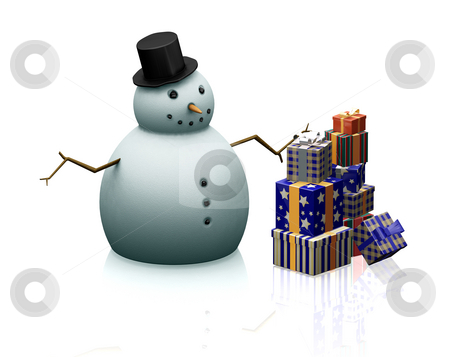 Snowman with gifts stock photo, 3D render of a snowman with a stack of gifts by Kirsty Pargeter