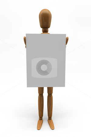 Mannequin Holding Sign stock photo, 3D image of a wooden mannequin holding a sign by Vasilis Akoinoglou