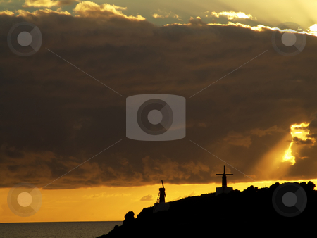 Windmill stock photo, Some typical windmills in azores at sunset by Rui Vale de Sousa