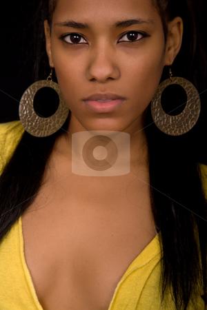 Close stock photo, Young beautiful woman close up portrait, on black background by Rui Vale de Sousa