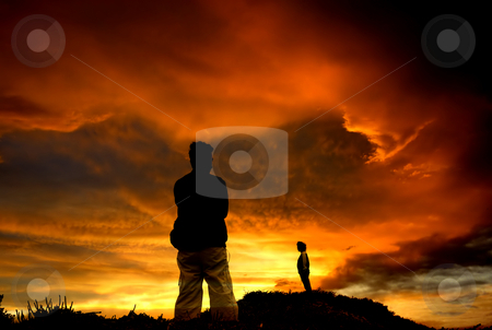 Sunset stock photo, Couple separated at sunset in the coast by Rui Vale de Sousa
