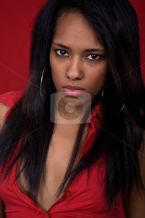 Close up stock photo, Young casual woman close up portrait, studio shot by Rui Vale de Sousa