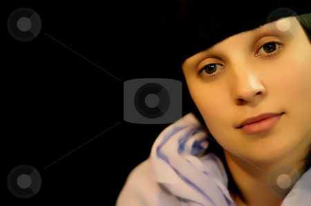 Girl stock photo, Brunette young woman close portrait in black background by Rui Vale de Sousa