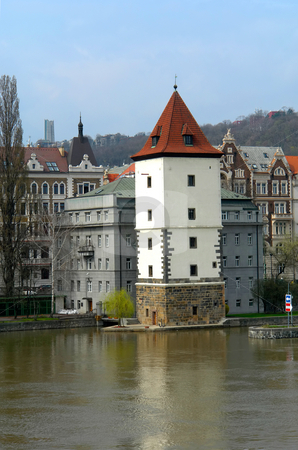 Prague stock photo, Some old prague buildings and the river by Rui Vale de Sousa