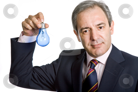 Bulb stock photo, Mature business man with a lamp isolated on white by Rui Vale de Sousa