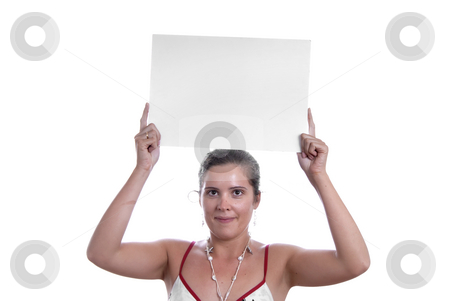Holding stock photo, Young girl holding a card in the top of the head by Rui Vale de Sousa