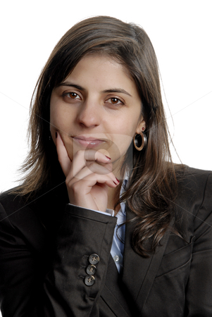 Woman stock photo, Business woman portrait over a white background by Rui Vale de Sousa