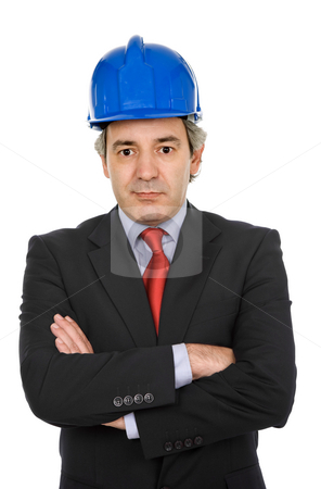 Worker stock photo, An engineer with blue hat, isolated on white by Rui Vale de Sousa