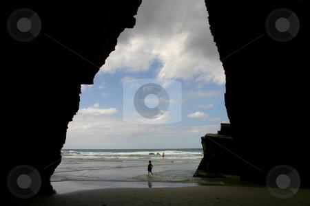 Beach stock photo, Big cave at the beach, north portuguese coast by Rui Vale de Sousa