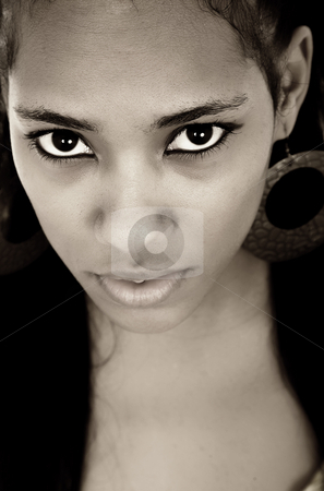Eyes stock photo, Young beautiful woman closeup portrait, isolated on white by Rui Vale de Sousa