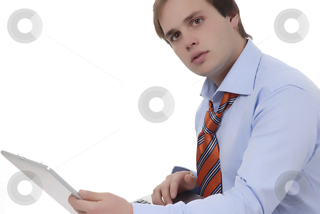 Working stock photo, Man working with computer in a white background by Rui Vale de Sousa