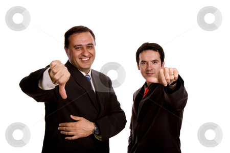 Thumbs down stock photo, Two young business men portrait, focus on the left man by Rui Vale de Sousa