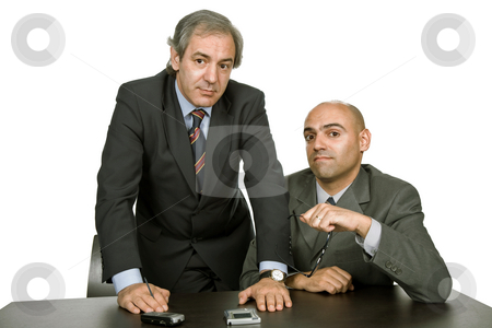 Team stock photo, Business team working at a desk, isolated on white by Rui Vale de Sousa