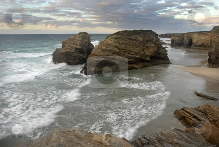 Beach stock photo, South portuguese beach of algarve at sunset by Rui Vale de Sousa