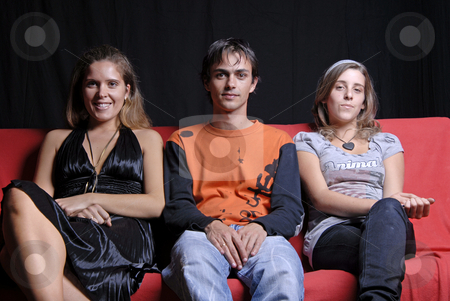 Sofa stock photo, Two woman and a boy in a sofa by Rui Vale de Sousa