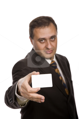 Card stock photo, Young businessman with a card, focus on the card by Rui Vale de Sousa