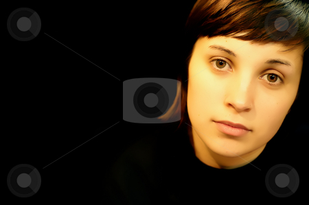 Face stock photo, Young casual woman in a black background by Rui Vale de Sousa