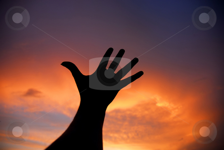 Reach stock photo, Human hand trying to reach the sky at sunset by Rui Vale de Sousa