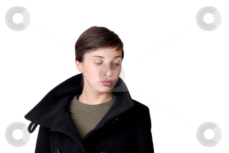 Girl stock photo, Bored young woman isolated on white background by Rui Vale de Sousa