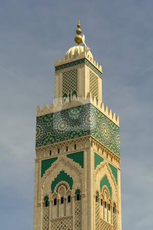 Mosque stock photo, Old colored mosque tower detail in Marocco by Rui Vale de Sousa