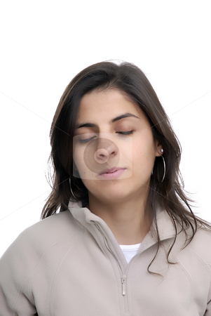 Sleepy stock photo, Young sleepy casual woman portrait in white background by Rui Vale de Sousa