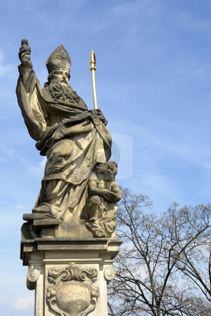 Statue stock photo, A statue at the Charles Bridge in Prague, Europe. by Rui Vale de Sousa