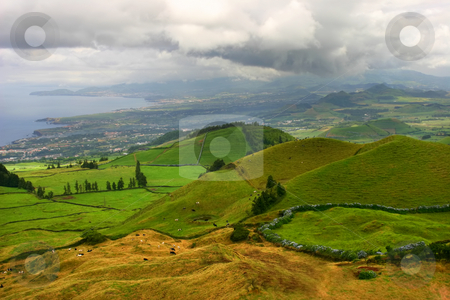 Azores stock photo, Azores coastal fields at sao miguel island by Rui Vale de Sousa