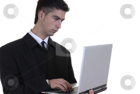 Working stock photo, Young caucasian man working with a computer by Rui Vale de Sousa