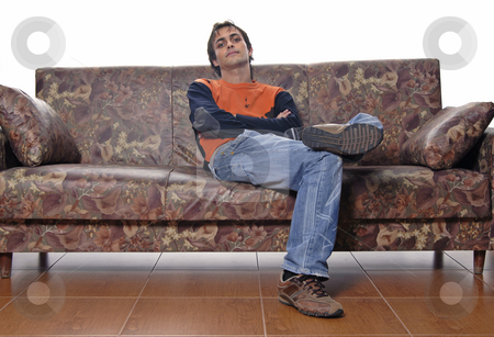 Casual stock photo, Young casual man portrait in a sofa by Rui Vale de Sousa